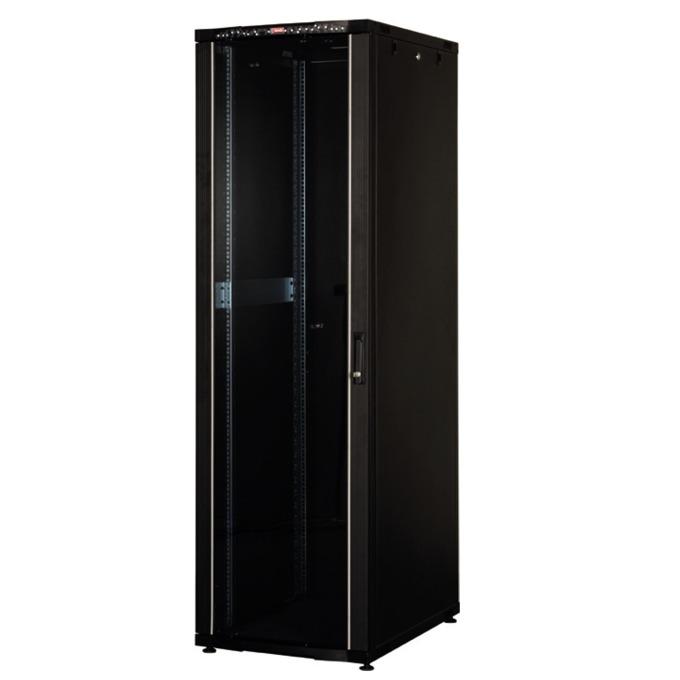 """Комуникационен шкаф Lande LN-CS32U6010-BL, 19"""", 32U, 600 x 1000 мм, перфорирана врата, LCD термометър, черен image"""