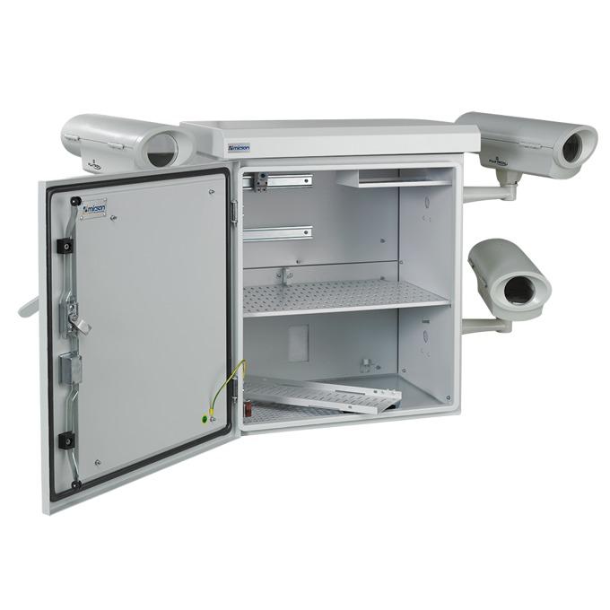 Комуникационен шкаф MIRSAN MR.MOB01.03 за CCTV оборудване - 615 х 477 х 705 мм / 15U, двойни стени, 2 вентилатора, бял image