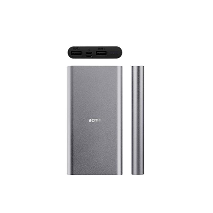 Външна батерия/power bank Acme PB15G, 6500 mAh, 1x USB A 5V 1A, 1x USB A 5V 2.1A, 1x Lightning, 1x Micro USB, сива image