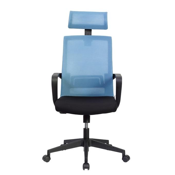 Директорски стол RFG Smart HB, дамаска и меш, черна седалка, светлосиня облегалка image