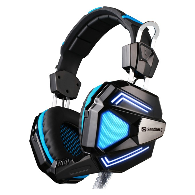 Слушалки Sandberg Cyclone, микрофон, гейминг, черни/сини image