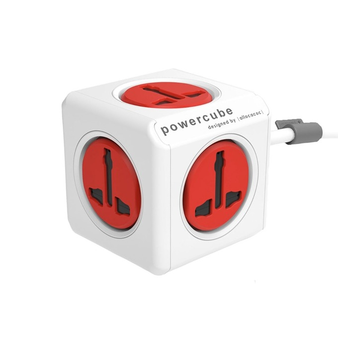 Разклонител Allocacoc Power Cube Universal 10532RD, 5 гнезда, защита от деца, бял/червен, 1.5 м кабел image