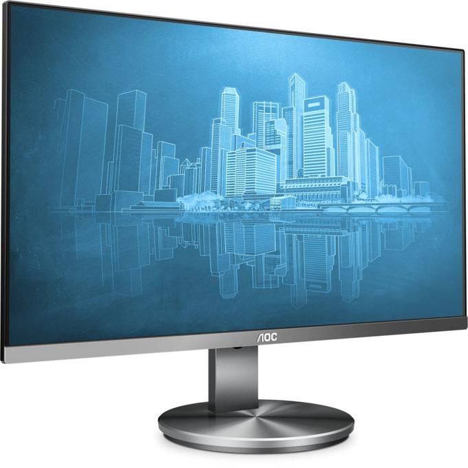 """Монитор AOC I2490VXQ/BT, 23.8""""(60.45 cm), IPS LED панел, FullHD, 4ms, 100000000 :1, 250 cd/m2, HDMI, DisplayPort, VGA, сив image"""