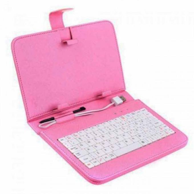 """Калъф за таблет K-02 до 8"""" (20.3 cm), розов, с клавиатура без кирилица, USB image"""