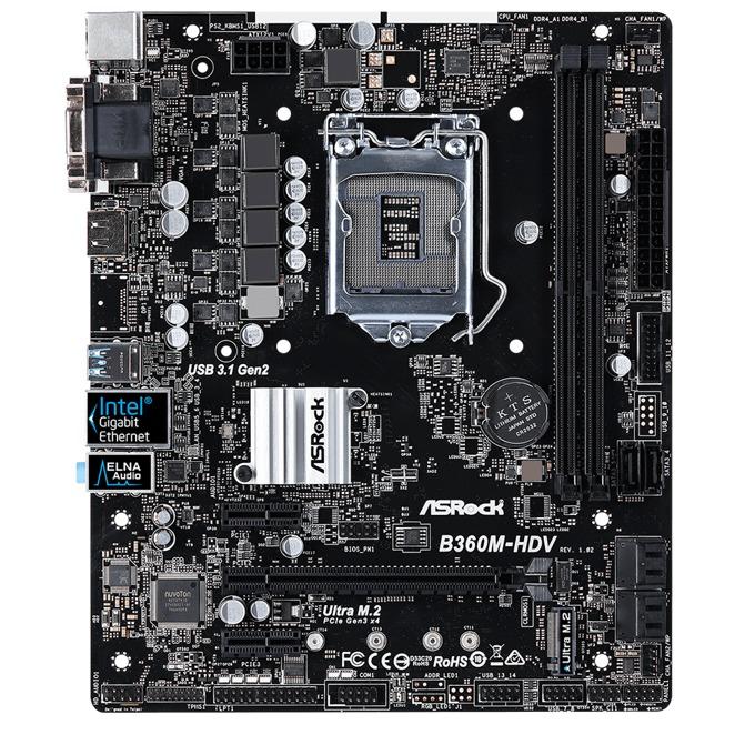 Дънна платка ASRock B360M-HDV, B360, LGA1151, DDR4, PCI-E (HDMI&DVI), 6x SATA3 6Gb/s, 1x M.2 Socket, 4x USB 3.1 (Gen2), Micro ATX image