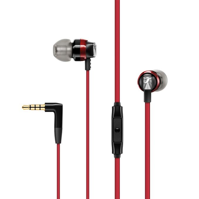 """Слушалки Sennheiser CX 300S, тип """"тапи"""", микрофон, позлатен стерео жак, червени image"""