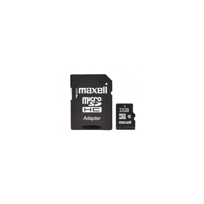 32GB microSDHC, MAXELL, с SD адаптер, Class 10, скорост на четене 45MB/s, скорост на запис 10MB/s image