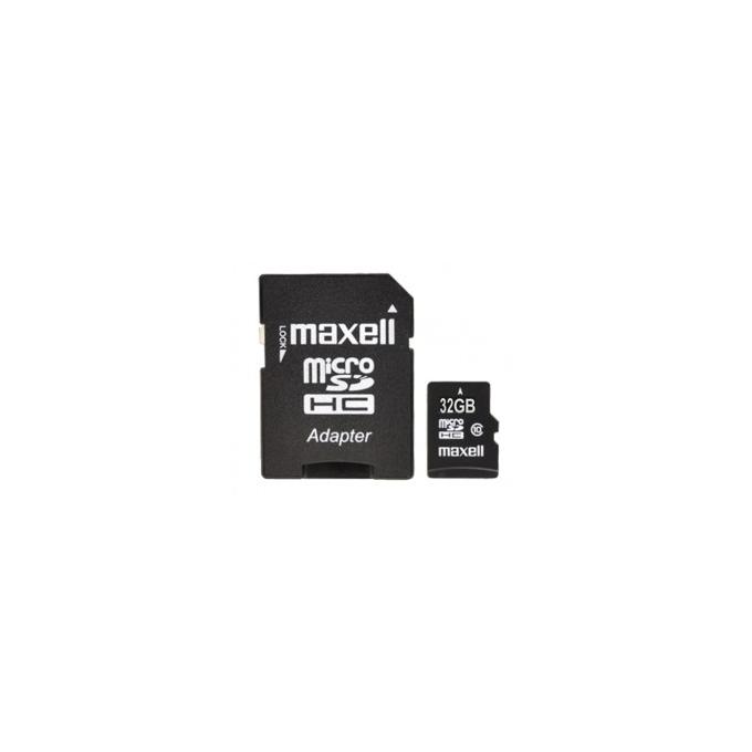 Карта памет 32GB microSDHC, MAXELL, с SD адаптер, Class 10, скорост на четене 45MB/s, скорост на запис 10MB/s image