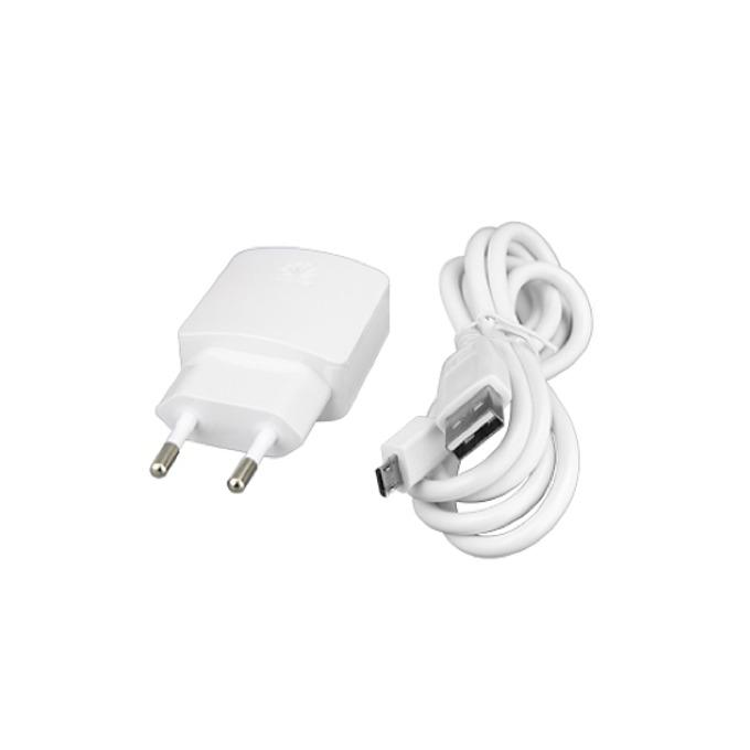 Зарядно устройствo Huawei USB Travel Charger, от шуко към USB, MicroUSB кабел, 5V/1.0A, бял, bulk image