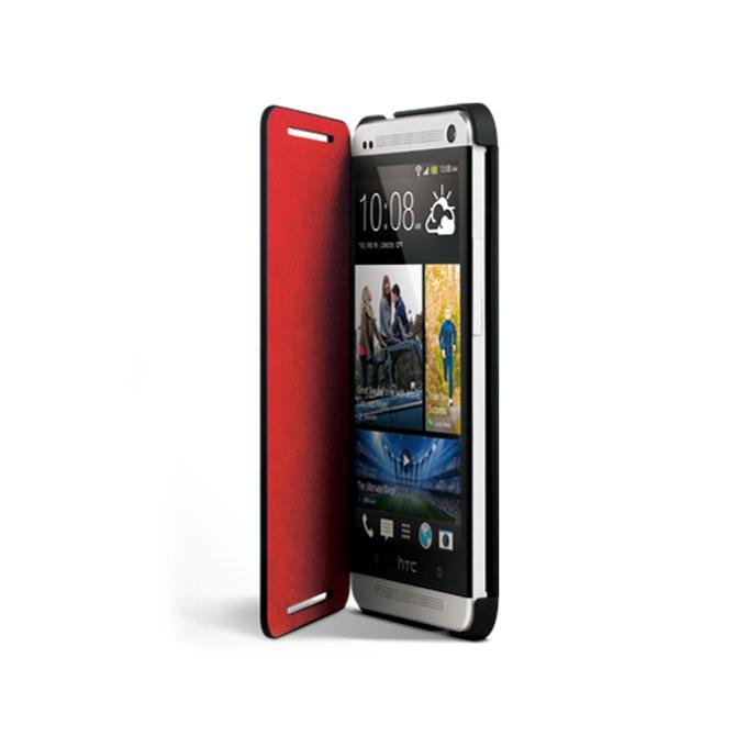 Калъф за HTC ONE mini, отваряем, кожен (еко кожа), HTC Double Dip Flip, червен image