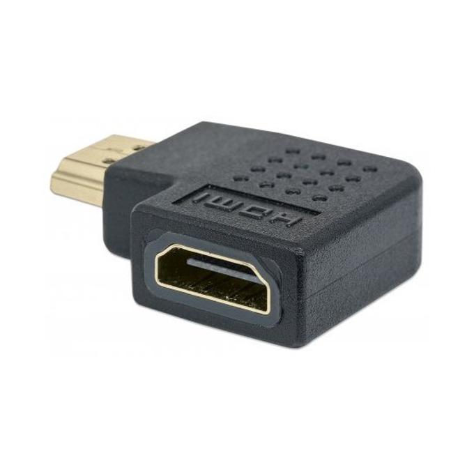 Преходник MANHATTAN 353496, HDMI(ж) към HDMI(м), 42мм, поддържа 4K резолюции, 90° извит на надясно, черен image