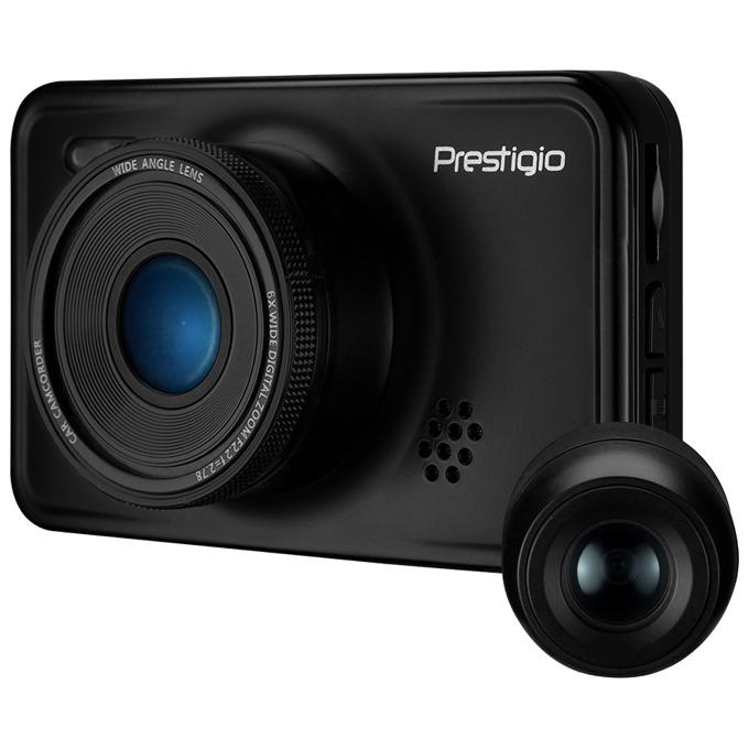 "Видеорегистратор PRESTIGIO RoadRunner 527DL, камера за автомобил, (двойна камера) предна - Full HD, задна - VGA, 3.0"" (7.62cm) TFT дисплей, 128MB вградена памет, Micro SD, Mini-USB image"