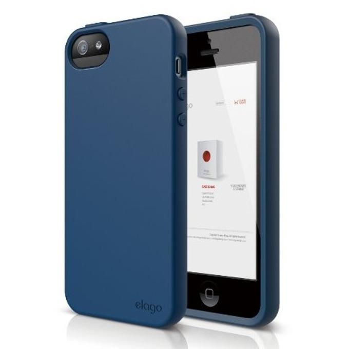 Силиконов протектор Elago S5 Flex Case + HD Clear Film за iPhone 5, iPhone 5S, тъмносин, HD покритие image