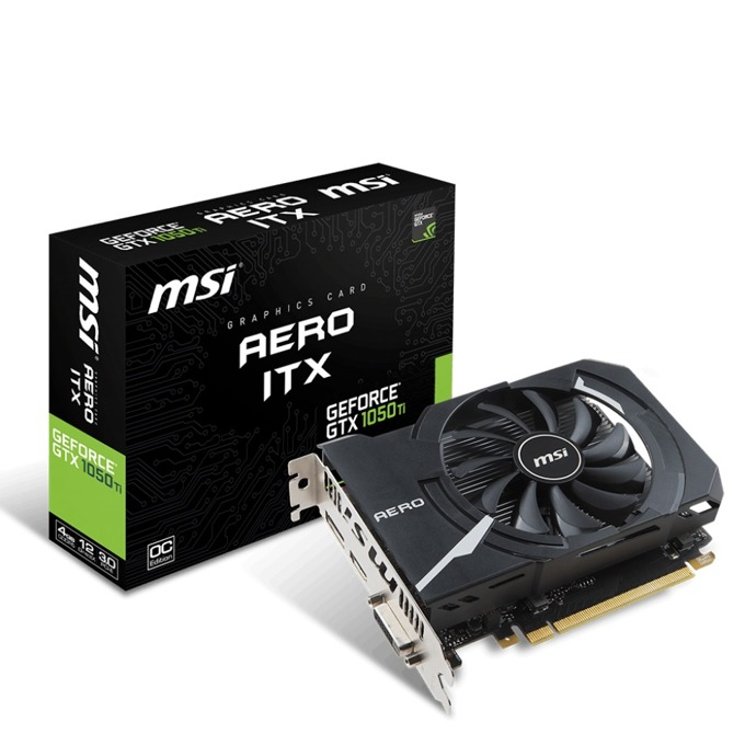 Видео карта Nvidia GeForce GTX1050TI, 4GB, MSI AERO ITX 4G OC, GDDR5, 128-bit, Display Port, HDMI, DVI-D image