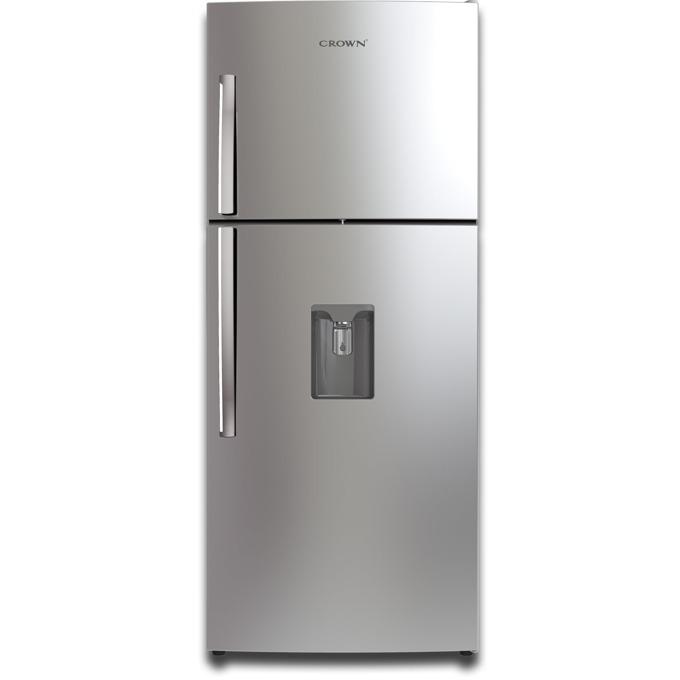 Хладилник с горна камера Crown CRTN-406WD, клас А+, 395л. общ обем, свободностоящ, 324 kWh/a годишно разход на енергия, No Frost, диспенсер за студена вода, инокс image