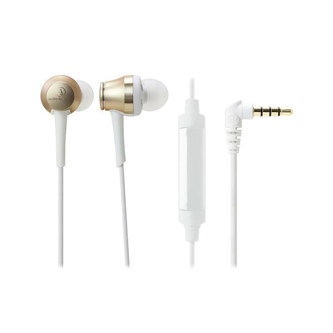 """Слушалки Audio-Technica ATH-CKR70iS, тип """"тапи"""", микрофон, High-Resolution аудио, бързи бутони, бели image"""