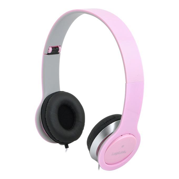 Слушалки LogiLink Stereo Quality HS0032, микрофон, 3.5мм жак, розови image