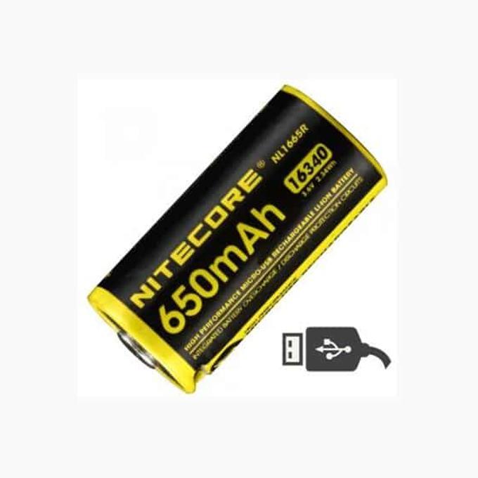 Акумулаторна батерия Nitecore NL1665R Protected с USB, 16340, 3.6V, 650mAh, Li-Ion, 1 брой  image