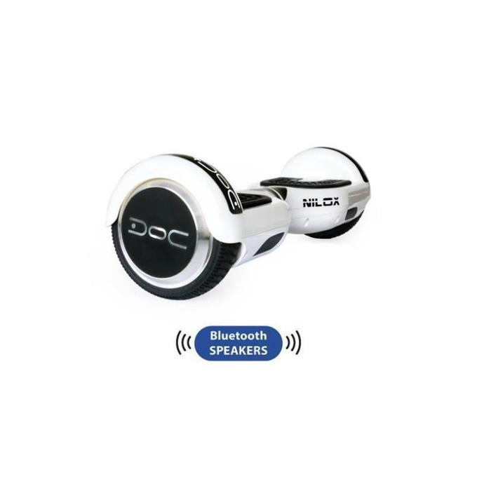 Ховърборд Nilox DOC Plus White, до 10км/ч скорост, 20км макс. пробег, до 100кг, 2x 240W двигатели, Bluetooth 2.1 говорители, бял-черен image