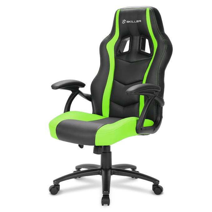 Геймърски стол Sharkoon Skiller SGS1, газов амортисьор, максимално количество до 100кг черен/зелен image