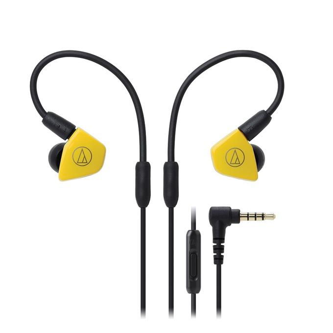 """Слушалки Audio-Technica ATH-LS50iS, тип """"тапи"""", микрофон, сваляеми накрайници, бързи бутони, жълти image"""
