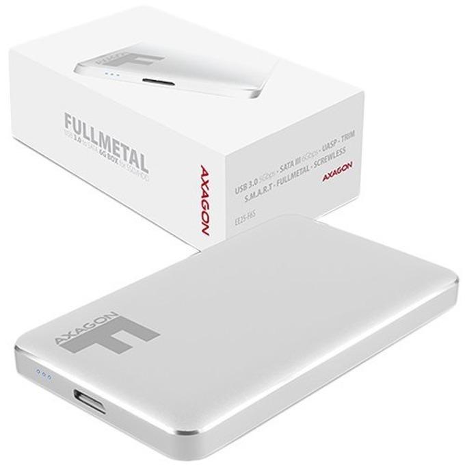 """Кутия 2.5"""" (6.35 cm) AXAGON EE25-F6S за HDD/SSD, USB 3.0, алуминиева, бяла image"""