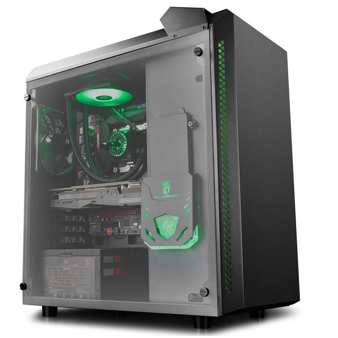 Кутия DeepCool Baronkase Liquid, ATX/mATX/miniITX, с водно охлаждане, 2x USB 3.0, прозорец, черна, черна, без захранване image