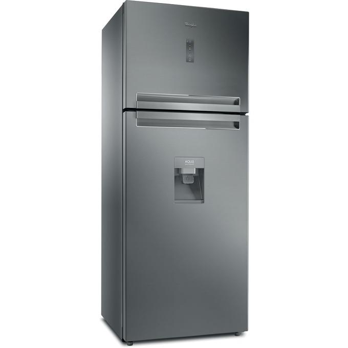 Хладилник с фризер Whirlpool T TNF 8211 OX AQUA, клас А+, 418 л. общ обем, свободностоящ, 375 kWh/годишно, 6-то чувство, No Frost, LED дисплей, диспенсър, инокс  image