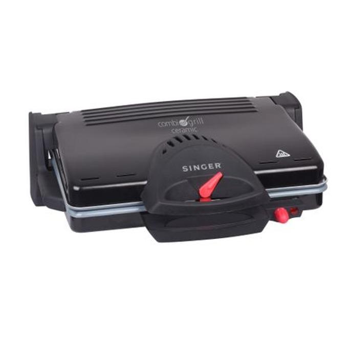 Електрически грил Singer TO4-1, регулируем термостат, оребрена повърхност на готвене, 2100W, черен image