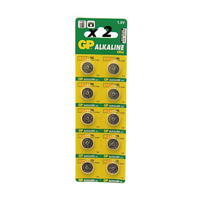 Батерия алкална GP LR43, 1.55V, 10 бр.