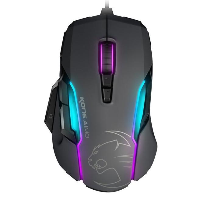 Мишка ROCCAT Kone Aimo, оптична (12000 dpi), USB, черна, подсветка с различни цветове, ергономичен дизайн image