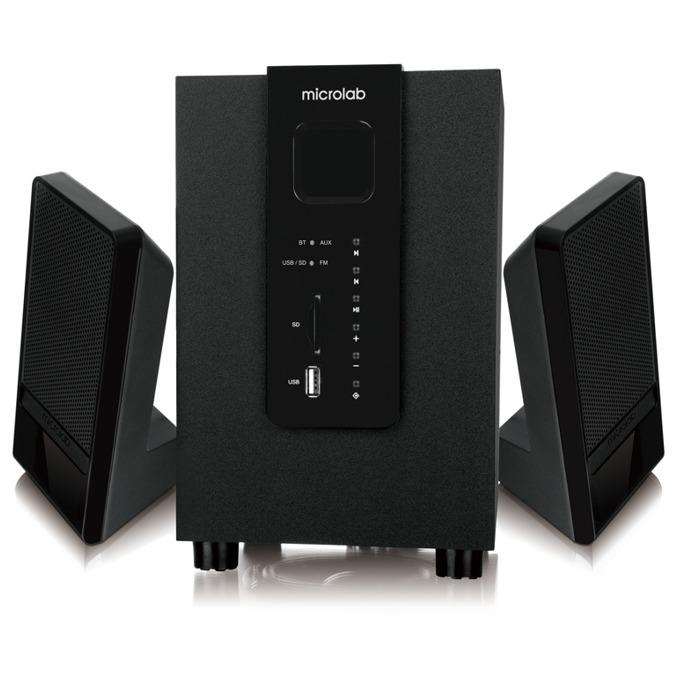 Тонколони Мicrolab M 100, 2.1, 10W RMS (2x 2.5W + 5W), 3.5mm jack, USB, Bluetooth, черни, SD card слот image