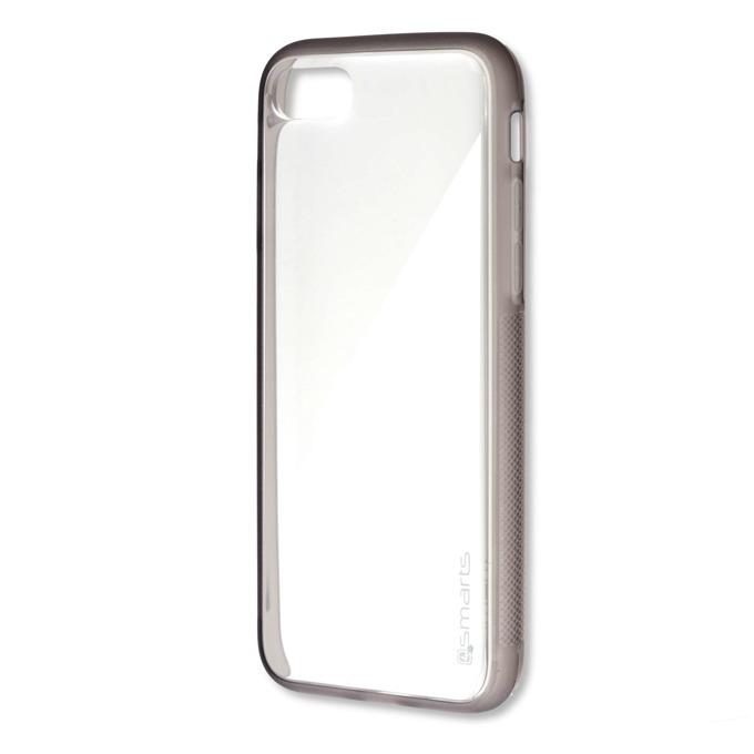 Калъф iPhone 7,8, страничен протектор с гръб, гумен, 4smarts Stick-It Clip Case, сив-прозрачен image