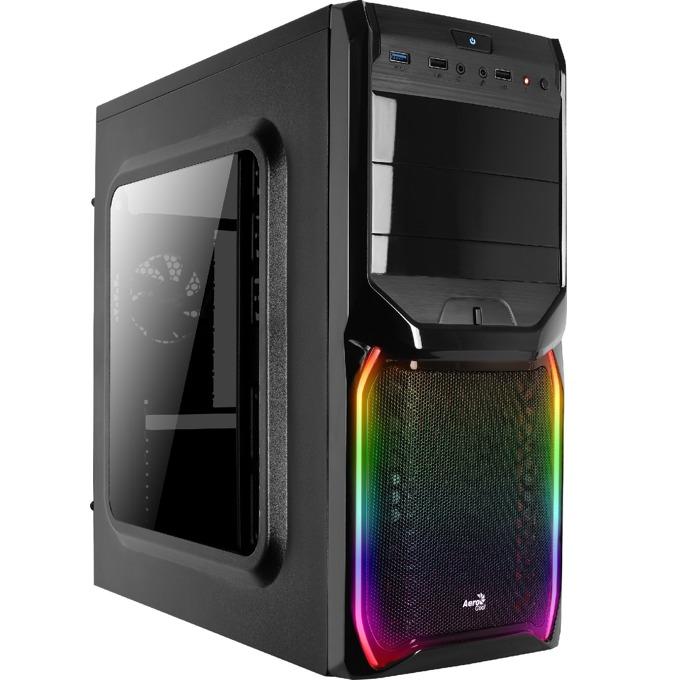 Кутия AeroCool V3X RGB Window, ATX/Micro-ATX/Mini-ITX, USB 3.0, RGB, 1x 80mm вентилатор, прозорец, черна, без захранване image