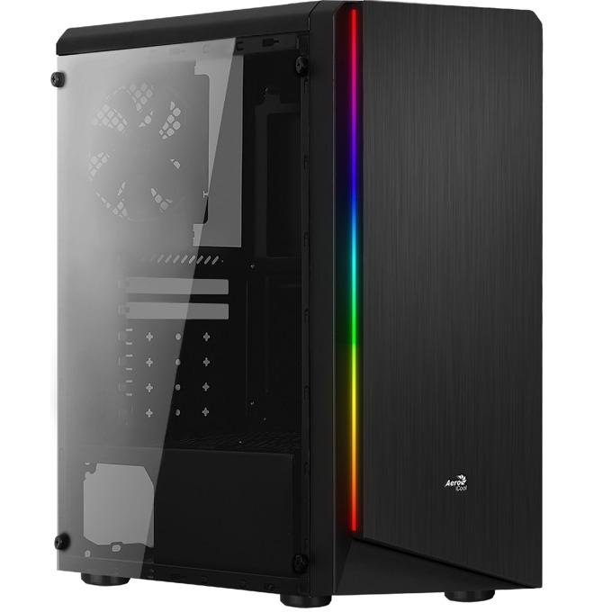 Кутия AeroCool RIFT RGB, ATX/Micro-ATX/Mini-ITX, USB 3.0, RGB, 1x 120mm вентилатор, четец за SD/microSD карти, прозорец, черна, без захранване image