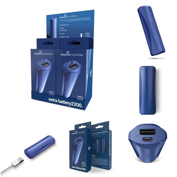 Външна батерия/power bank/ Energy Sistem Extra Battery Navy, 2200 mAh, синя, LED индикатор за зареждане image