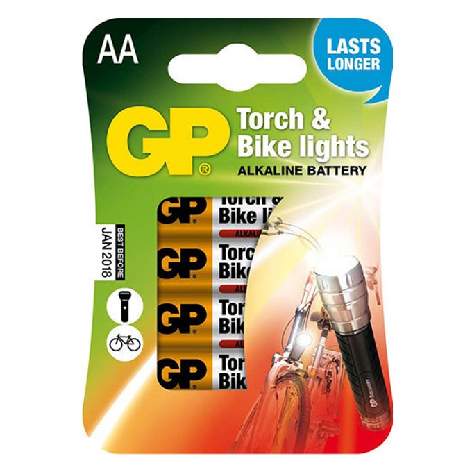Батерии алкални GP Torch & Bike Lights AA, 1.5V, 4 бр.  image