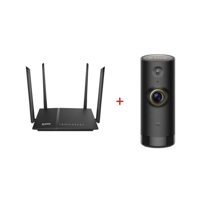 Рутер D-Link AC1200 в комплект с D-Link Mini HD Wi-Fi камера, 1167Mbps, 2.4GHz(300Mbps), 5GHz(867Mbps), Wireless AC, 4x LAN 1000, 1x WAN 1000, 4x външни антени, 3T4R image
