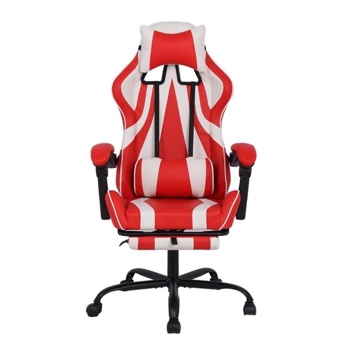 Геймърски стол RFG Max Game (ON4010200085), еко кожа, 150 кг. максимално натоварване, стоманена база, газов амортисьор, бял/червен image