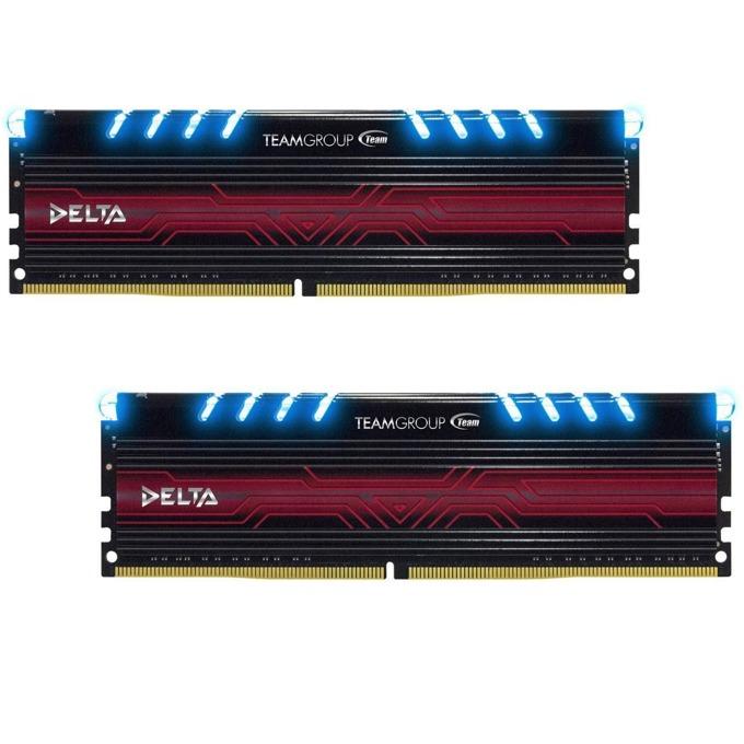 16GB (2x8GB) DDR4 3000MHz, Team Group Delta Blue, TDTBD416G3000HC16CDC01, 1.35V image