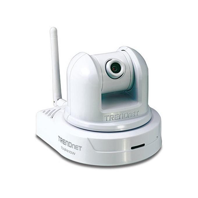 IP камера TRENDnet TV-IP410W, управляема камера (PTZ - Pan/Tilt/Zoom), 640x480@30fps, 4mm обектив, MJPEG, PoE, безжична, бяла image