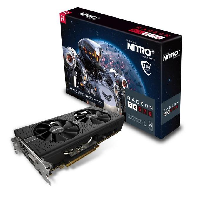Видео карта AMD Radeon RX 570, 8GB, Sapphire NITRO+ 11266-09-20G, PCI-E 3.0, GDDR5, 256 bit, 2x Display Port, 2x HDMI, DVI, Nitro Glow 2 подсветка image