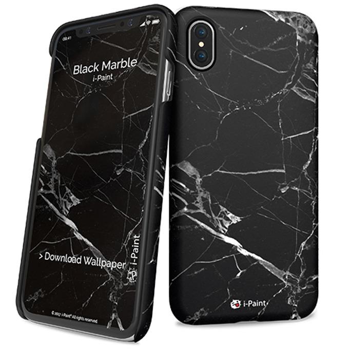 Калъф за Apple iPhone XS, поликарбонатов, iPaint Black Marble HC 860108, щампа image
