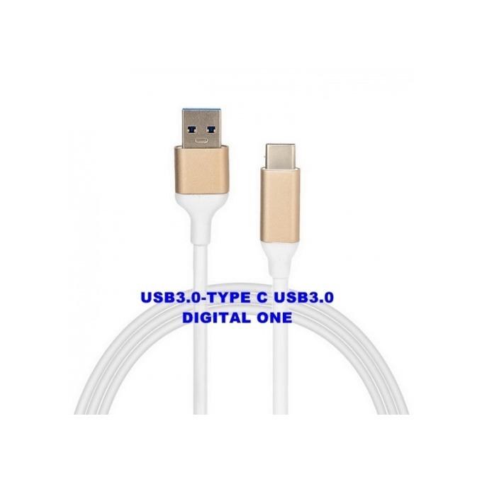 Кабел Digital One SP00039, USB 3.0 A(м) към USB C(м), 0.8m, бял image