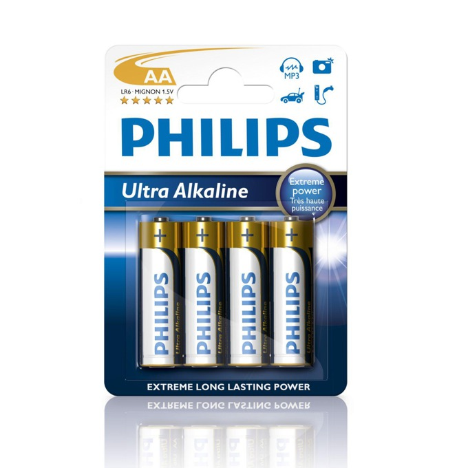 Батерии алкални Philips Ultra AA LR6E4B, 1.5V, 4 бр. image