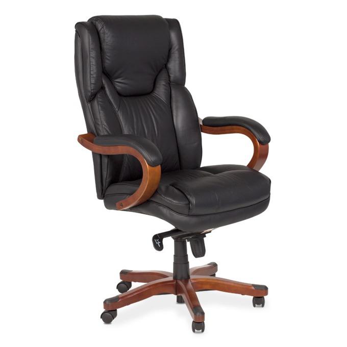 Директорски стол Carmen 8020, естествена кожа, дървена база, регулируем люлеещ механизъм, черен image