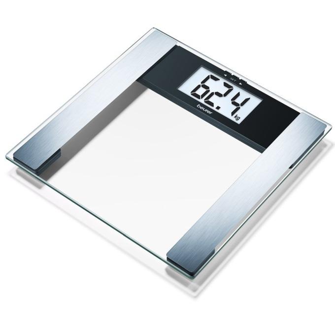 Цифров кантар с анализатор Beurer BG 17 Diagnostic Scale glass, капацитет 150 кг, LCD дисплей, с включена батерия, претегля теглото, телесната мазнина, съдържанието на вода в организма, мускулна маса, костна маса image