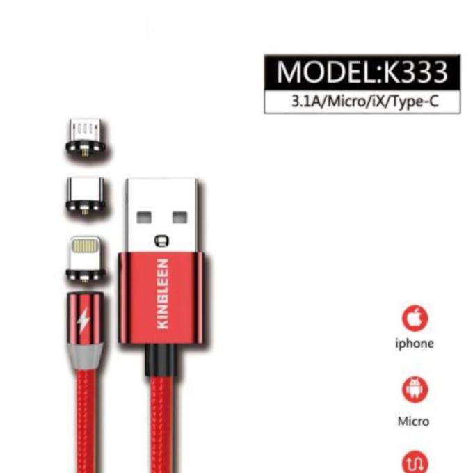 Кабел магнитен Kingleen (K333), от USB Type-C(м) към Micro USB/Type C/Lightning(м), 1м, 3.1A, червен image