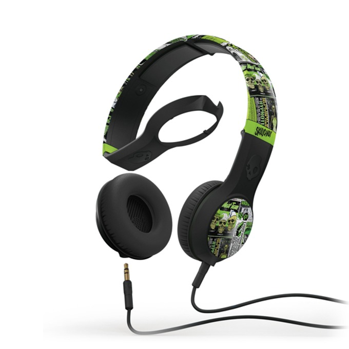 Cлушалки SkullCandy Cassette Lurker Toxic Flyer (зелен-черен), микрофон и спийкър image