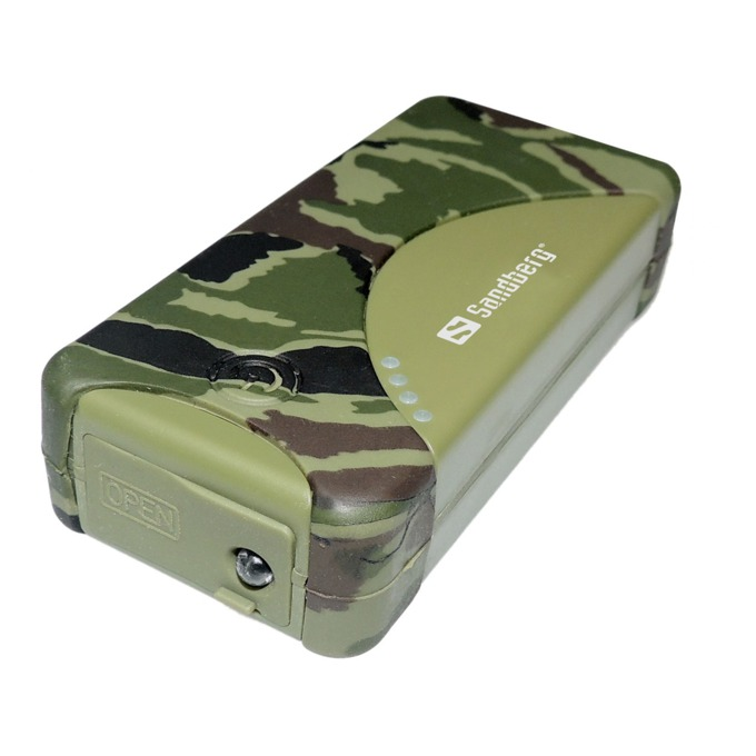 Външна батерия/power bank/ Sandberg 420-22, 5200 mAh, IP54 защитен калъф, зелена/камуфлаж image